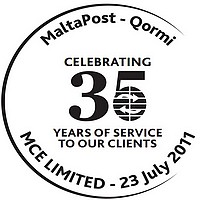 Special Anniversary Hand Postmark issued for MCE Limited