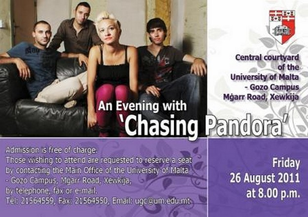 An evening with Chasing Pandora at the Gozo Campus