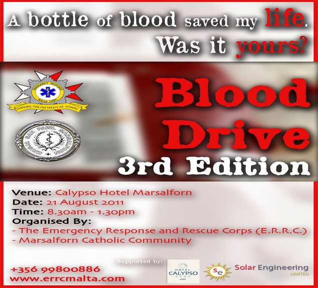 ERRC Blood Drive event being held on Sunday in Marsalforn