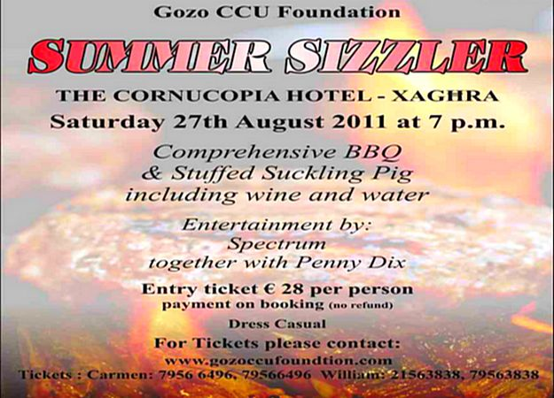 Gozo CCU Foundation's Summer Sizzler BBQ next Saturday