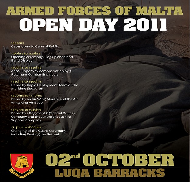 Open Day at AFM's Luqa Barracks taking place on Sunday