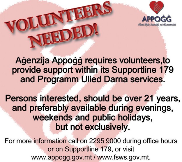 Agenzija Appogg needs volunteers for 2 of its services