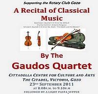 The Gaudos Quartet to perform live at the Citadel, Victoria
