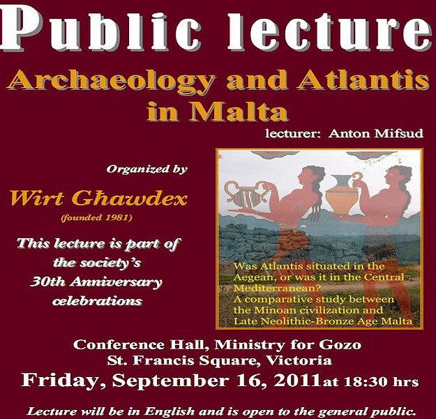 Wirt Ghawdex lecture 'Archaeology and Atlantis in Malta'