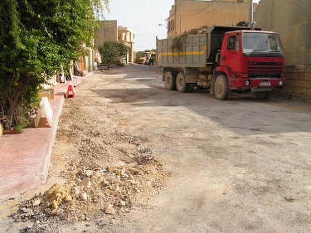Road resurfacing work being carried out around Xewkija