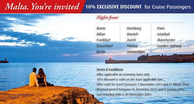 Air Malta launches special offer targeting cruise passengers