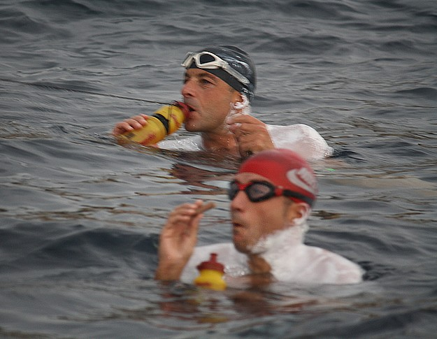 Businessmen successfully swim 37km round Gozo for charity