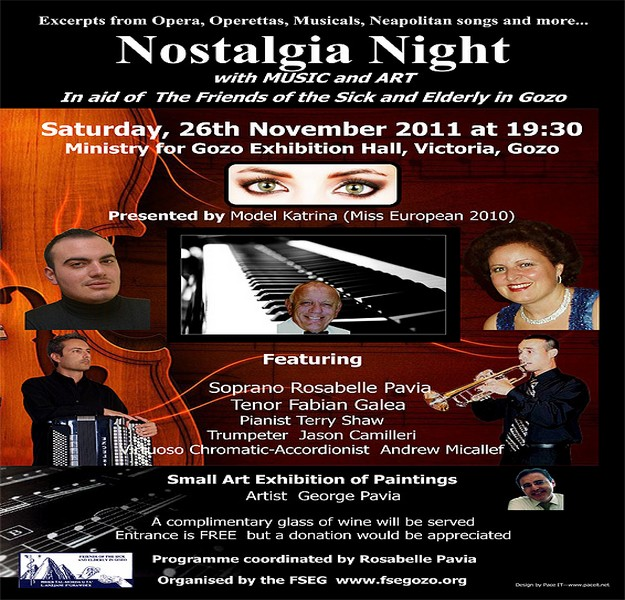 Friends of the Sick & Elderly in Gozo to hold a Nostalgia Night