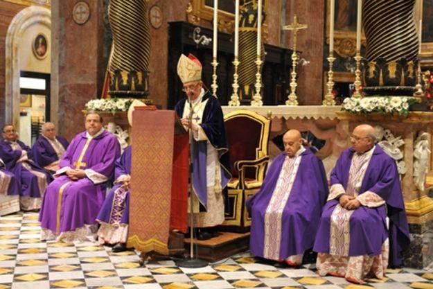 Archbishop Mgr Guzeppi Mercieca at St George's yesterday