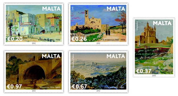 Set of five new stamps featuring four paintings of Gozo
