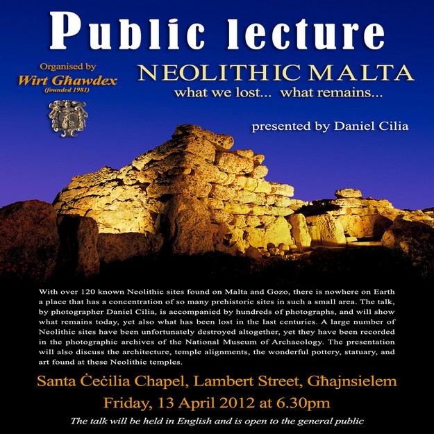 Lecture on Neolithic Malta organised by Wirt Ghawdex