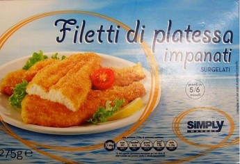 Breaded plaice fillets warning due to the presence of wheat