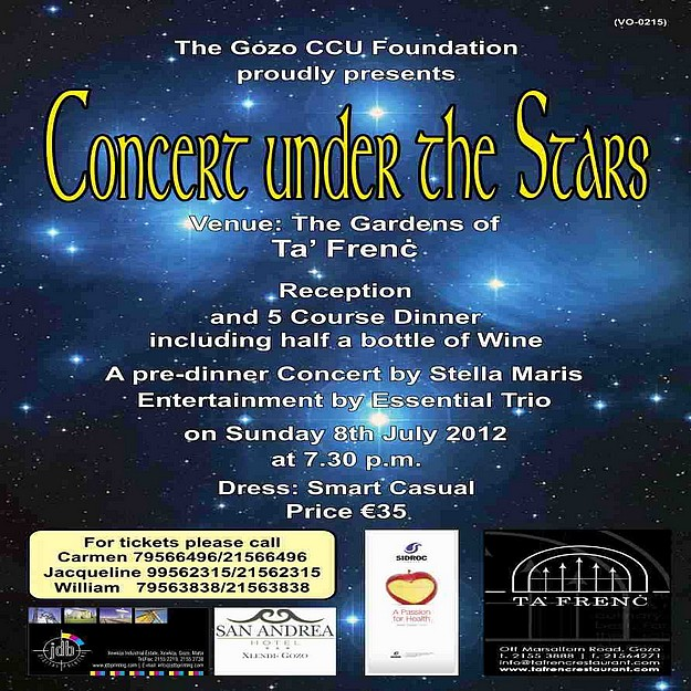 Gozo CCU Foundation 2012 fundraising dinner and concert