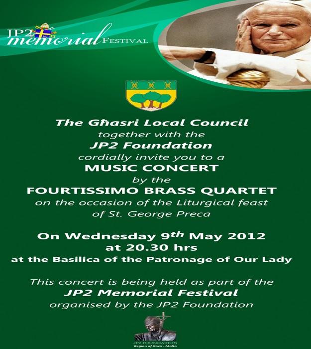 Fourtissimo Brass Quartet concert for JP2 Memorial Festival