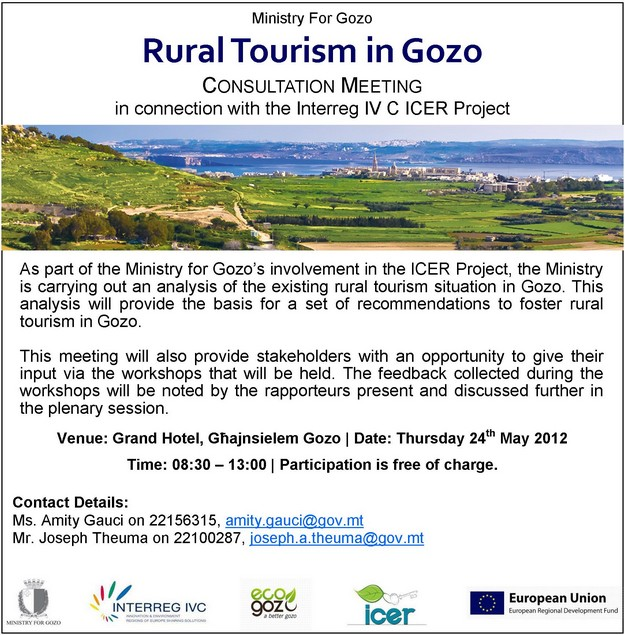 ICER Project consultation meeting on rural tourism in Gozo