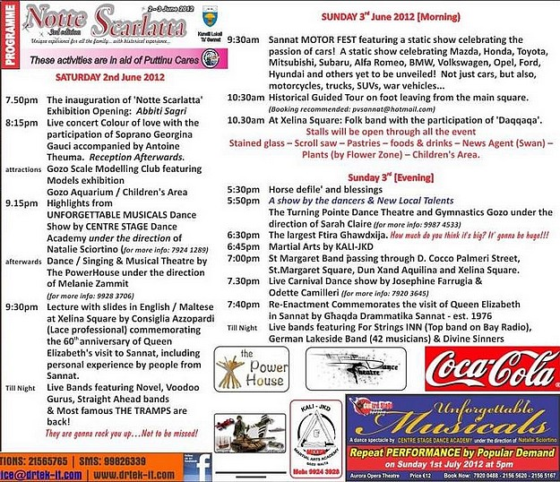 The full programme of events