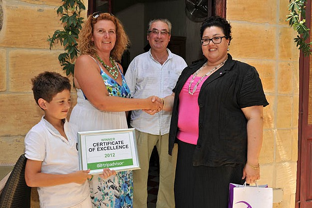 Gozitan B&B owners win a Certificate of Excellence Award