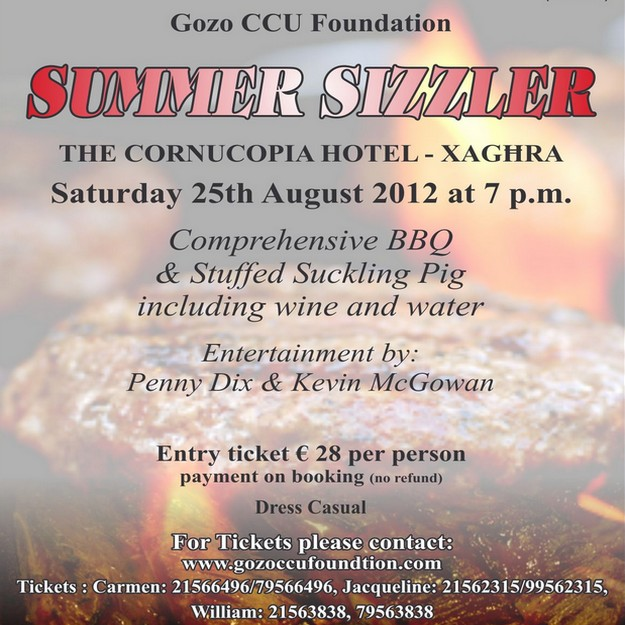 A 'Summer Sizzler BBQ' in aid of the Gozo CCU Foundation