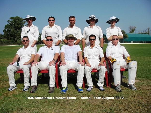Visitors H.M.S. Middleton cricket team up against Marsa C.C