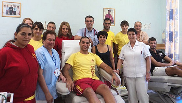 Lifeguards from the E.R.R.C. donate blood at Gozo Hospital