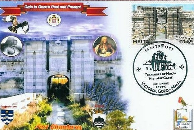 Commemorative cards from GPS of 2 historic gates in Gozo