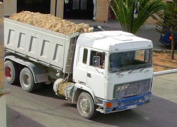 One of many lorries that thundered through Qala on Friday