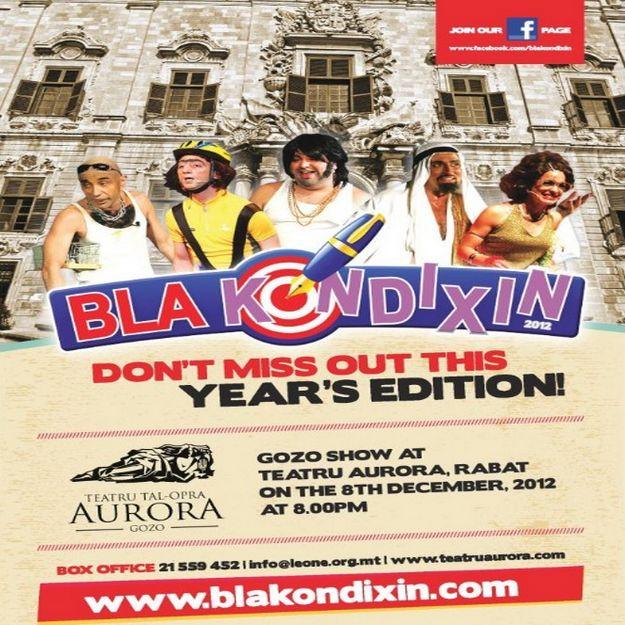 Bla Kondixin in Gozo this Saturday at the Aurora Theatre