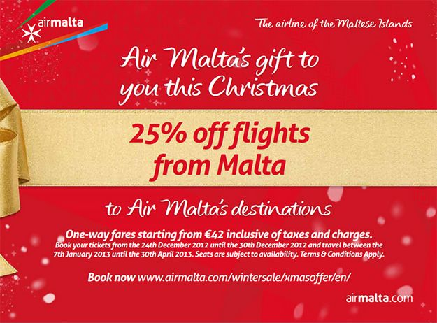 Air Malta launches its Christmas Sale starting this Monday