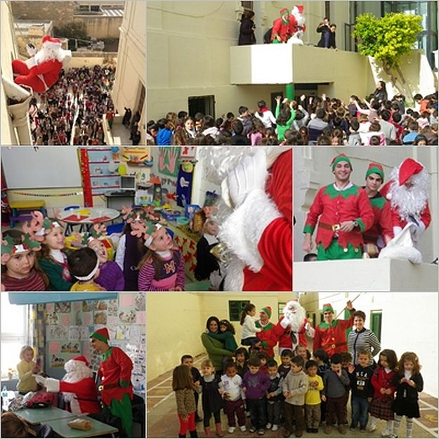 Santa & his elves surprise children at Victoria Primary School