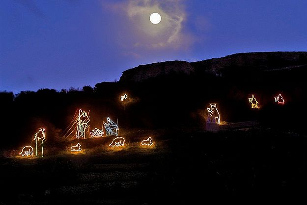 Crib of lights on Ghammar Hill at Ta' Pinu National Sanctuary