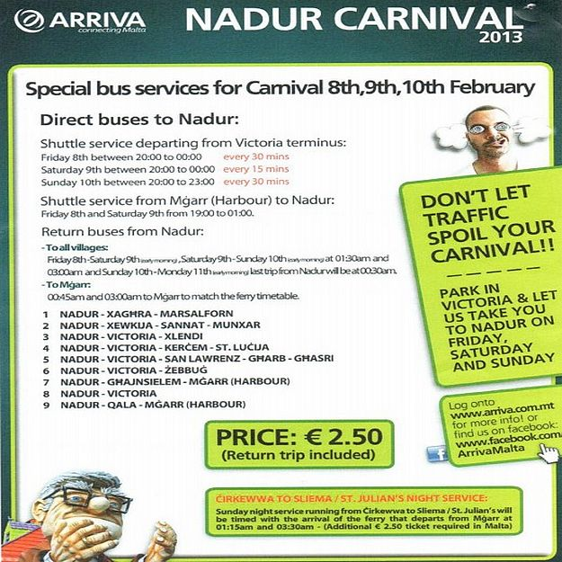 Special Arriva services on Gozo for the Nadur Carnival 2013