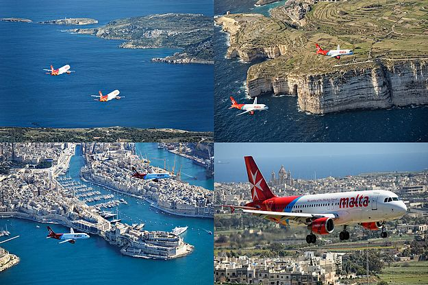 Air Malta Aircraft fly in formation over the Maltese Islands