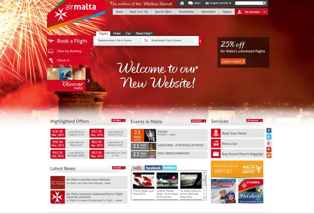 Air Malta website launch with 25% discount one-day sale