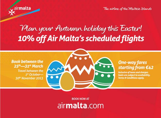 Air Malta Easter offer of 10% discount on scheduled flights
