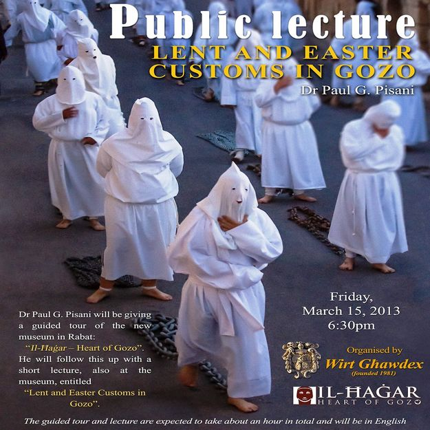 Guided tour & lecture on 'Lent and Easter Customs in Gozo'