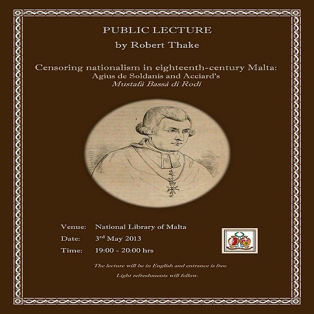 Lecture on Gozitan author and historian Agius de Soldanis