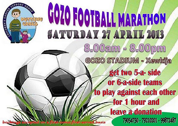 Gozo Football Marathon 3rd edition in aid of Puttinu Cares