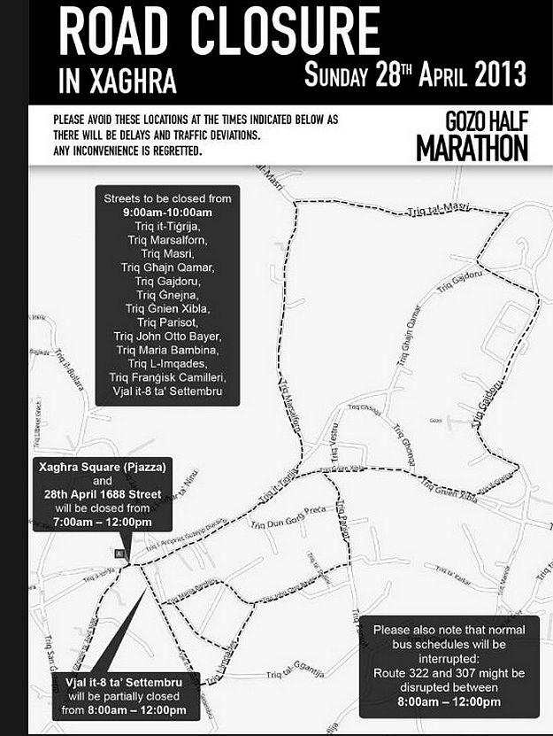 Road closures on Sunday in Xaghra for Gozo Half Marathon