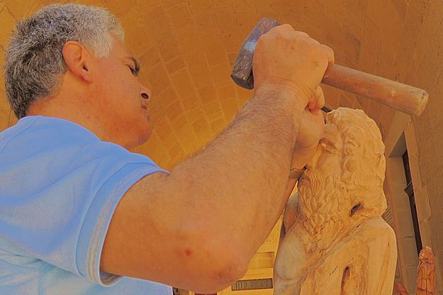 Gozitan artist Mario Aguis at work for Notte Gozitana 2013