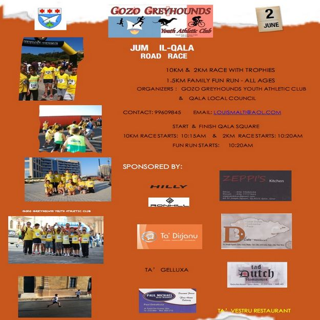 Qala road races with Gozo Greyhounds Youth Athletic Club