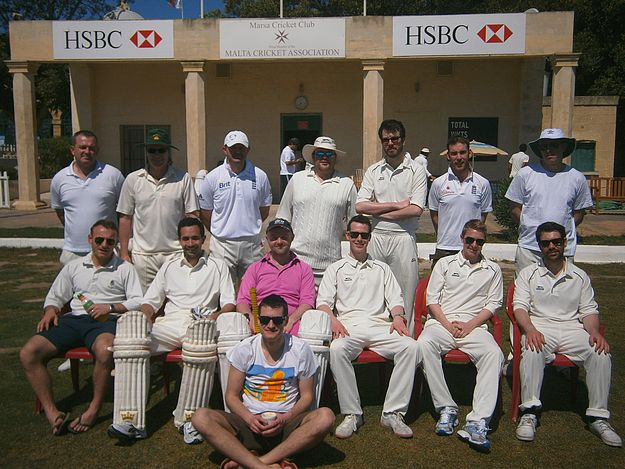 Vistiting team Spartacus XI from the UK take on Marsa CC