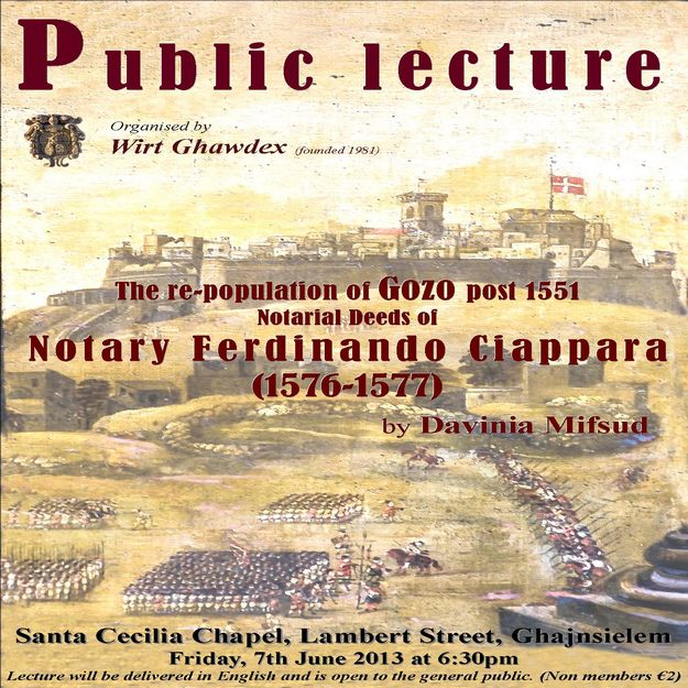 Wirt Ghawdex lecture - The repopulation of Gozo post 1551