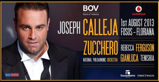 All standing area will be free at Joseph Calleja concert