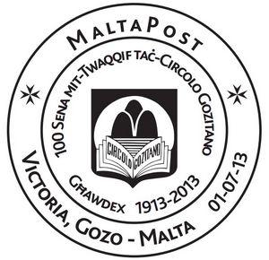 Circolo Gozitano - Special hand postmark 100th anniversary