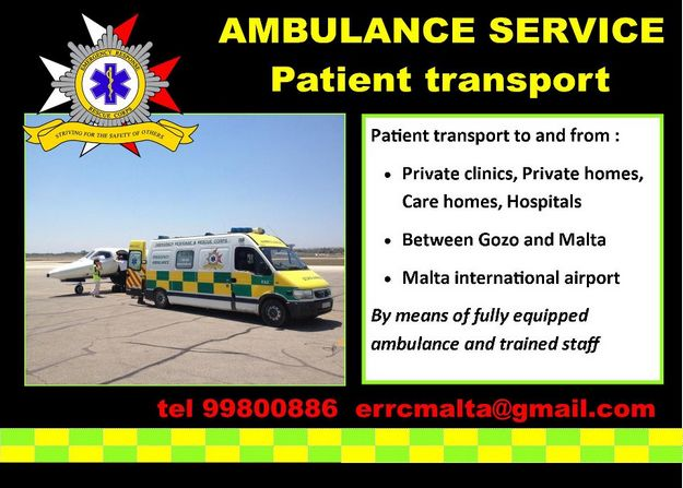ERRC Gozo offers a patient transfer service to the public