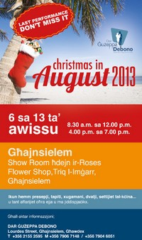 'Christmas in August 2013' in aid of Dar Guzeppa Debono