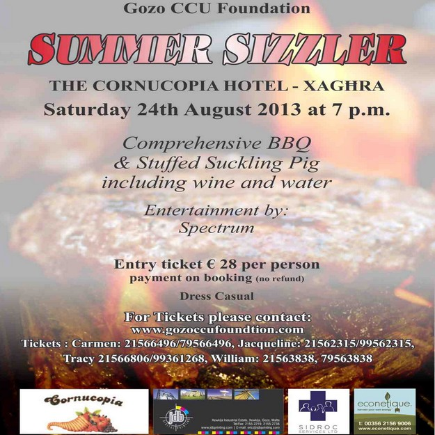 Enjoy a late 'Summer Sizzler' in aid of Gozo CCU Foundation