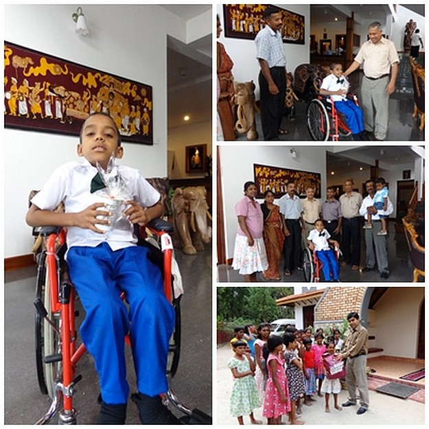 Donation of a wheel chair and clothing arrives in Sri Lanka