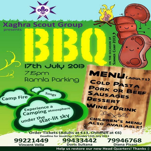 Join the Xaghra Scout Group for their Summer BBQ at Ramla
