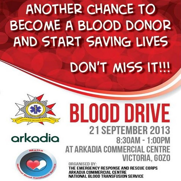 ERRC Blood Drive being held at the Arkadia Centre in Gozo
